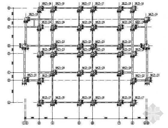 某小学五层框架食堂宿舍楼结构设计图纸