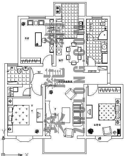 三室两厅室内户型图