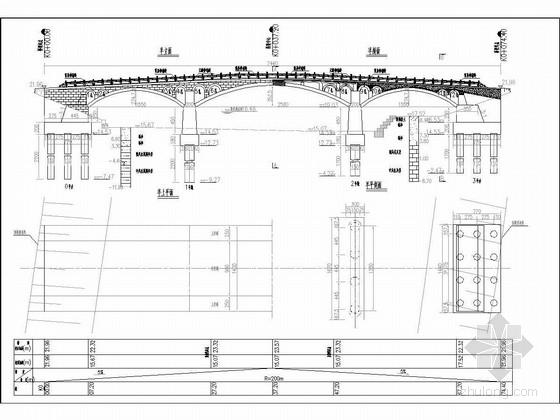 15.5+25+15.5米圆弧线钢筋混凝土拱桥施工图(装饰拱圈)