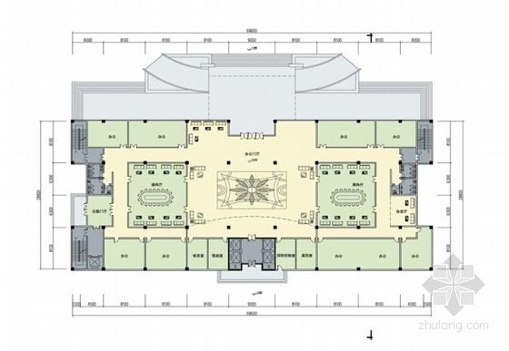 [湖北]10层现代风格生产调度通信办公楼建筑设计方案文本(知名设计院)-10层现代风格生产调度通信办公楼平面楼