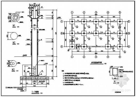 法式花架柱基础详图