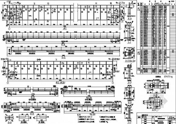 大型炼钢车间吊车梁系统全套结构施工图