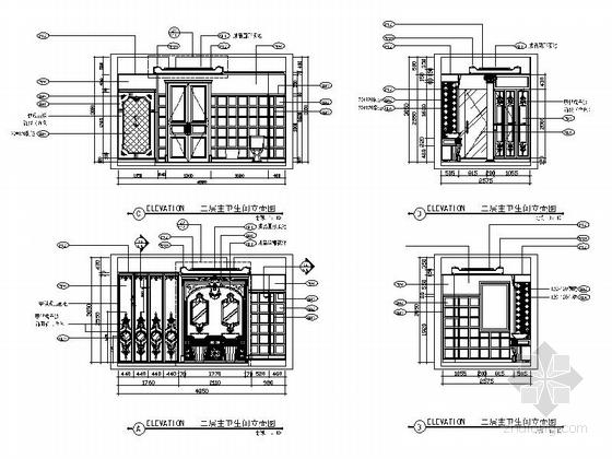 精品豪华欧式风格三层别墅室内装修施工图(含方案效果图)主卫立面图