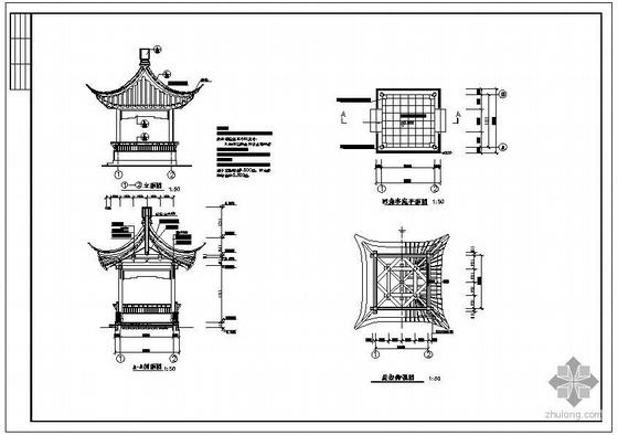 某古建四角亭建筑结构设计施工图