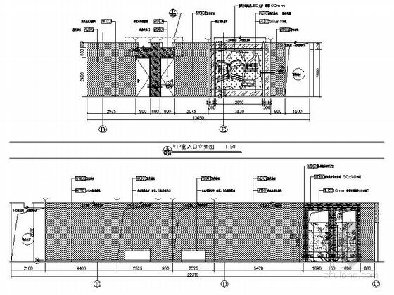 [天津]国际化金融股份制公司现代办公楼装修施工图(含实景及报价表)vip室入口立面图
