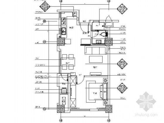 [上海]豪华住宅区现代一居室装修施工图