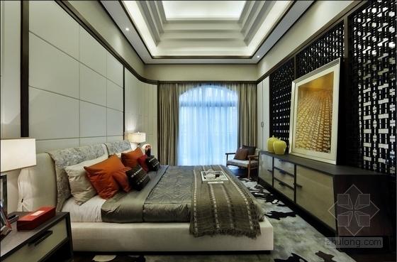 [深圳]现代时尚顶层叠加别墅样板房装修卧室实景图