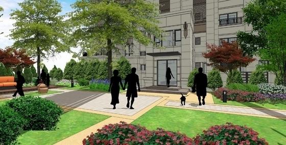 [重庆]简洁大气高层住宅小区景观规划详细设计方案(170页精美图纸)-景观效果图