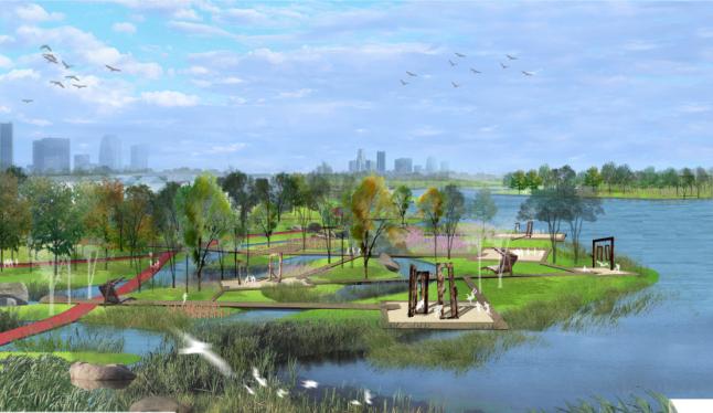 [江苏]南通市经济技术开发区核心区域景观规划(带状,水绿渗透)-A04湿地区效果图