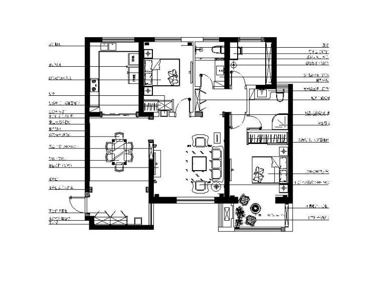 [陕西]时尚.优雅法式样板房CAD施工图(含效果图)