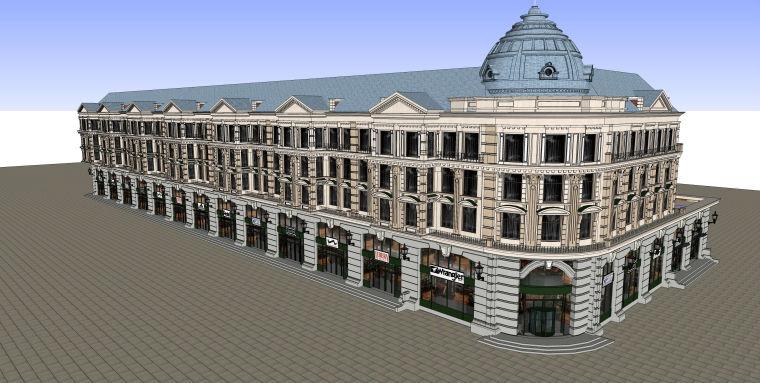 欧式风格高层多层住宅建筑设计SU模型