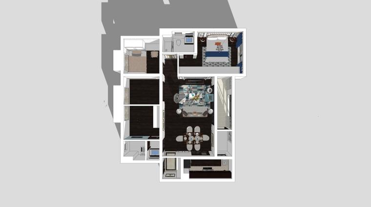 现代美式风格住宅方案客厅设计模型