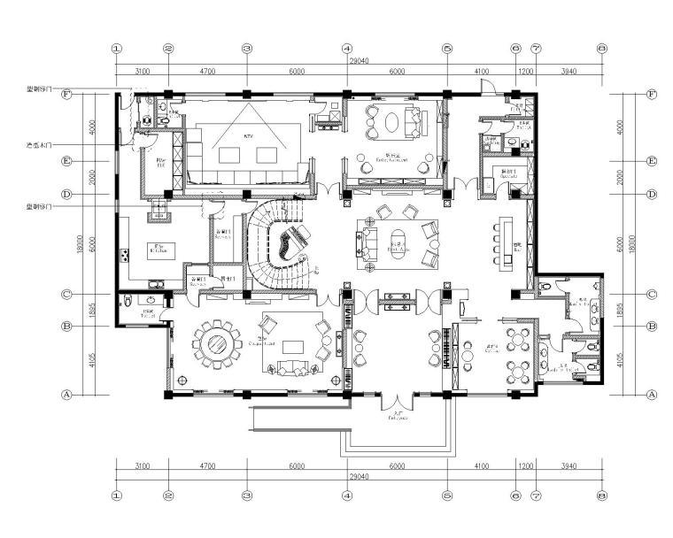 HWCD-上海皇家花园会所装修设计施工图+设计方案+效果图