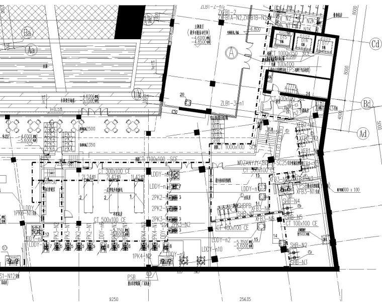 [上海]某学院楼及教学楼电气施工图纸(含动力、照明及变电所图纸)-动力平面图