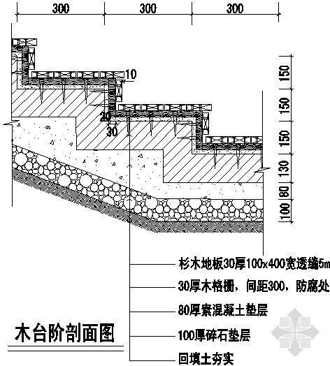 木台阶剖面图