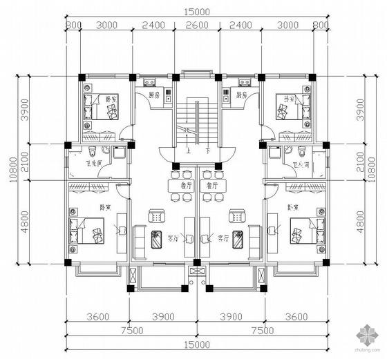 板式多层一梯二户二室一厅一卫户型图(83/83)