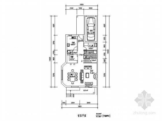 某三层带车库联排别墅端头户型平面图(北入口、239平方米)