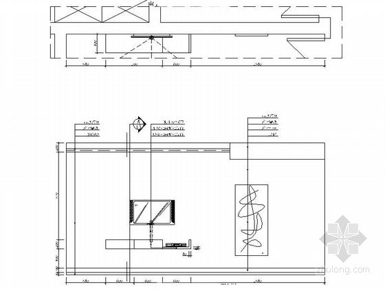 [湖南]高档样板房三居室设计CAD施工图(含效果)电视背景墙立面图