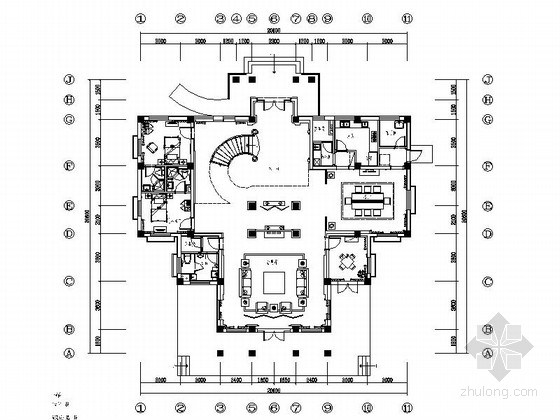 [河南]风景旅游区简欧高档两层别墅CAD装修施工图(含效果)