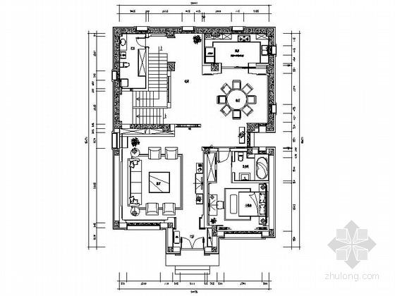 [原创]老年中式三层别墅室内施工图(含效果图)