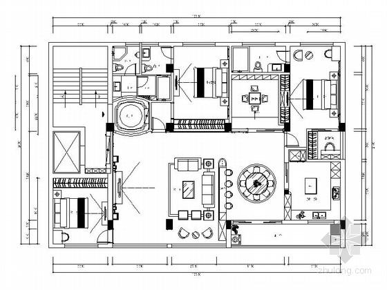 精品欧式风格三居室室内装修施工图(图纸细致完整 推荐!)