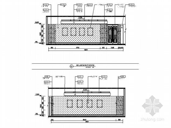 [江苏]典雅休闲花园式酒店附楼休息大厅室内施工图(含效果)立面图