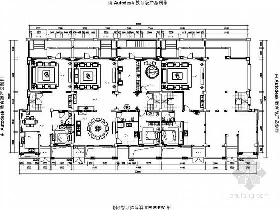 [大理]中式典雅大气别墅室内设计CAD施工图(含效果图)