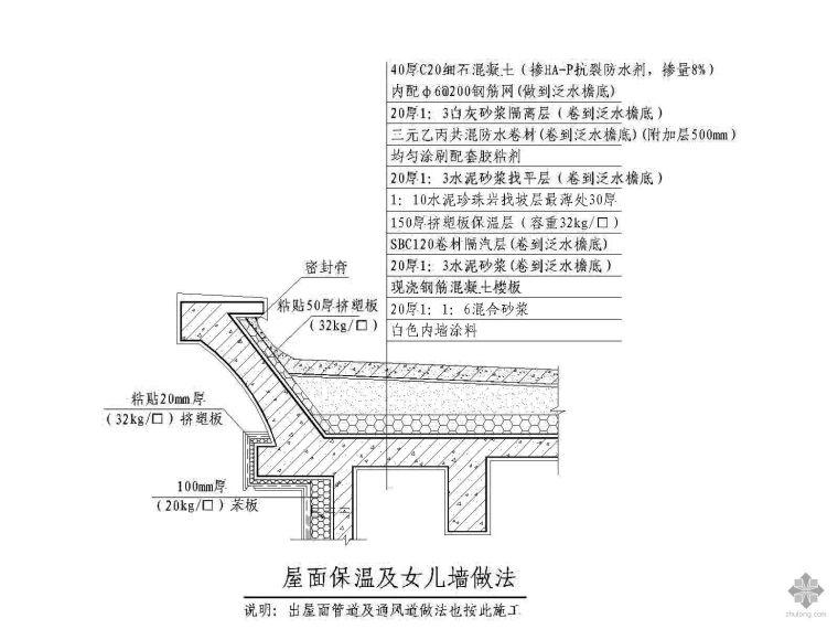 平屋面保温、防水、排水口、通气孔节点详图