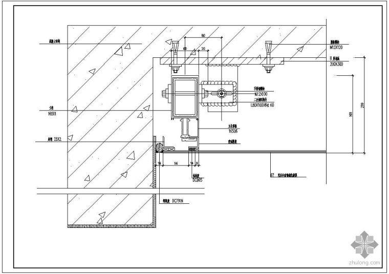 某玻璃幕墙及铝合金型材节点构造详图(三)