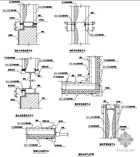 钢结构节点精选之网架墙面、檐口、雨篷等节点详图