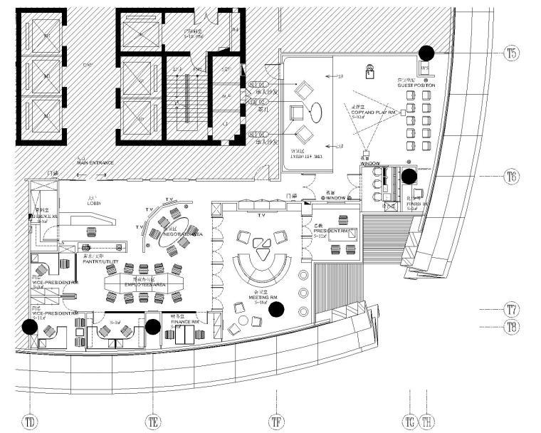 南京香港卫视办事处室内装修施工图