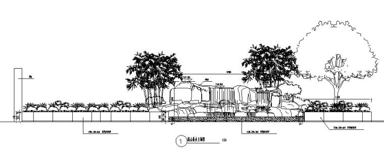 独栋别墅私家花园景观出自著名设计师的施工图--本套施工图包括设-假山跌水立面图