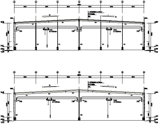 48X210m门式刚架厂房工程施工图(CAD,11张)