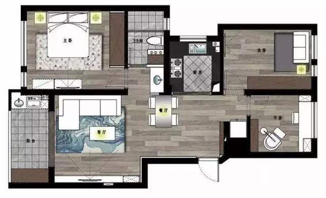 90㎡三室两厅,设计1㎡都不浪费~