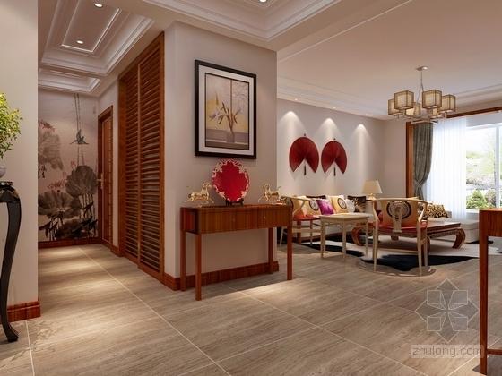 [银川]独具个性高层区混搭风格三居室样板间装修施工图(含效果及3Dmax模型)效果图
