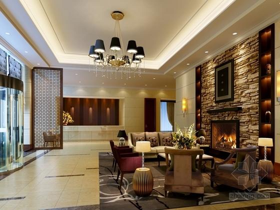 [原创]商务酒店大堂及餐饮空间装修施工图(含效果图) 效果图
