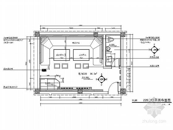 [河南]豪华KTV包间装修设计施工图(含效果)