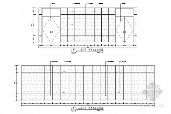 [杭州]市中心核心地带重点惠民工程文化中心装修图(含实景图) 声乐室立面图