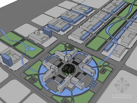 影视中心建筑SketchUp模型下载