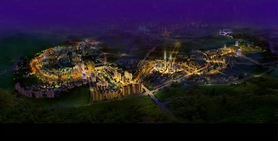 [四川]综合多地块滨河城市沿线景观规划设计方案-夜景鸟瞰图