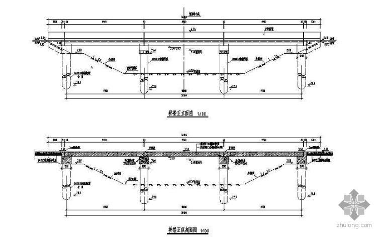 某三跨公路桥设计图