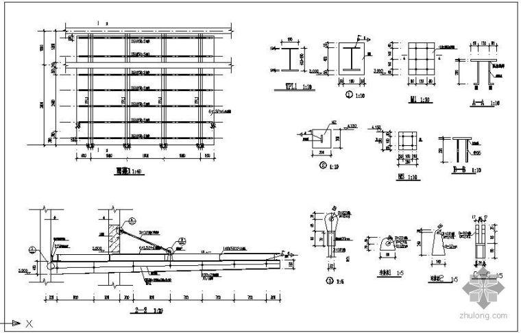 某雨棚结构节点构造详图