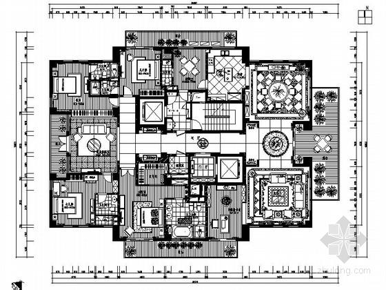 [杭州]顶级精品小区中欧混搭七居室装修施工图