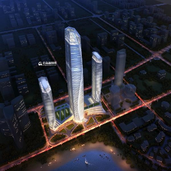 """青岛369米第一高楼""""海天中心""""建设进展顺利,预计2019年完工"""
