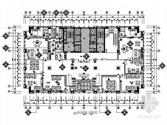 [大连]大型现代理财担保机构办公楼装修设计施工图(含电气及排水图)