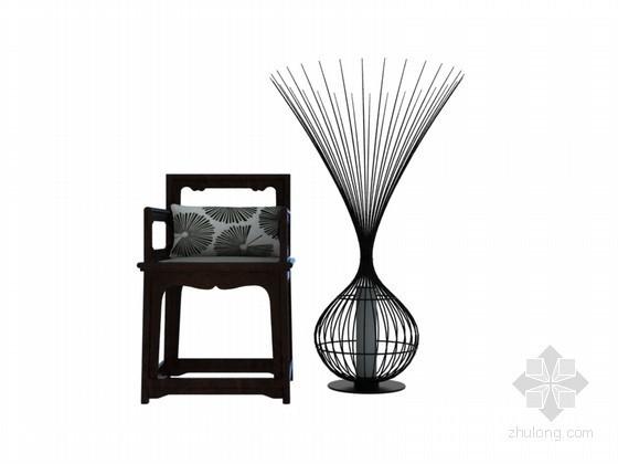 现代中式椅子3D模型下载