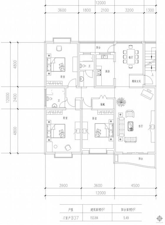 板式多层一梯两户户型图(154/154)