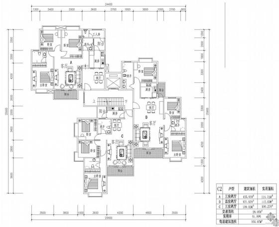塔式高层一梯三户户型图(126/122/110)
