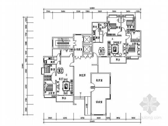 小高层住宅转角一梯三户型平面图(99、105、128平方米)