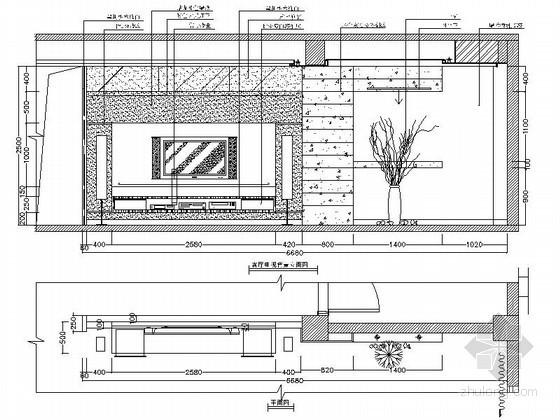 现代时尚电视背景墙CAD详图